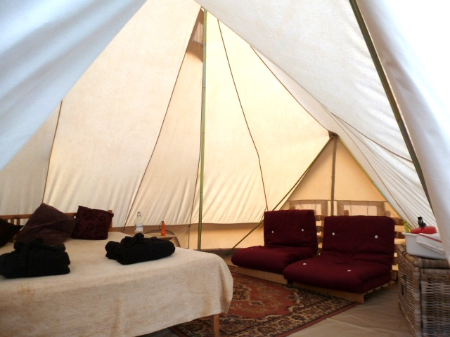 glamping family bell tent at dche