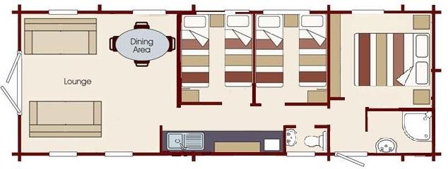 layout of self catering holiday lodge